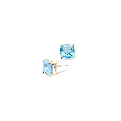 2.71 Cts of 7 mm AA Cushion Checkered Swiss Blue Topaz Stud Earrings in 14K Yellow Gold-Screw ()
