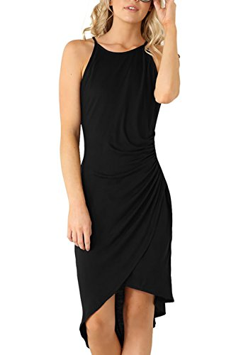 Eliacher Women's Summer Spaghetti Strap Sleeveless Casual Bodycon Midi Dress Black Large (Bust  86-90cm/33.90-35.40
