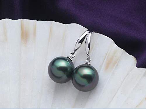 10Mm 12Mm 14Mm 16Mm Women Jewelry Earring Bright Dark Green Round Bead Natural South Sea Shell Pearl Dangle Hook Earring (12mm)