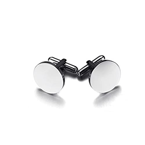 Personalized Engraved Blank Stainlesss Steel Round Initial Monogram Wedding Cufflinks for Men Groom