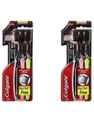 NUEVO Colgate Carbón vegetal y Slim Soft Ultra Suave cepillo para polvo de dientes Pack 2
