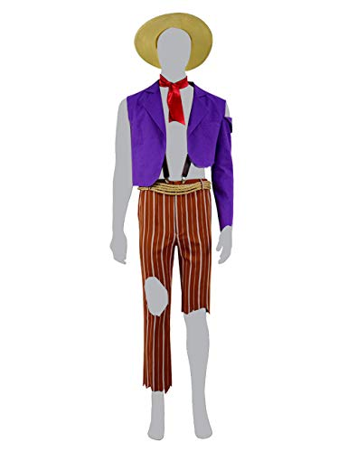 Xiao Maomi Men Halloween Anime Movie Héctor Costumes Clothing Full Set Hat Shirt Pants Suits for Cosplay Party (US Men-L, Purple Yellow) -