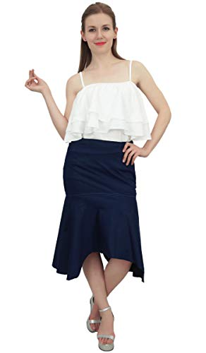 Jupe Bleu en Denim Femmes Glissire Fermeture Hem Marin Bimba avec Latrale Asymtrique vwZqtgWp