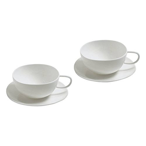 Alessi Fruit Basket Set of 2 Teacups with Saucers in Bone China