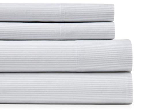 (LINENWALAS Bamboo Pillow Case Pin Stripes Queen Size - Softest and Thermal Regulating Pillow Cover - Silk Like Soft Bed Pillowcases Set - 100% Natural Bamboo Pin Stripe Bedding (Standard, White))