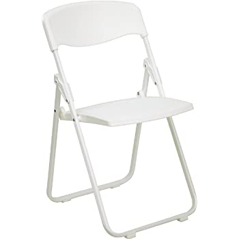 Flash Furniture HERCULES Series 880 Lb. Capacity Heavy Duty White Plastic  Folding Chair With Built