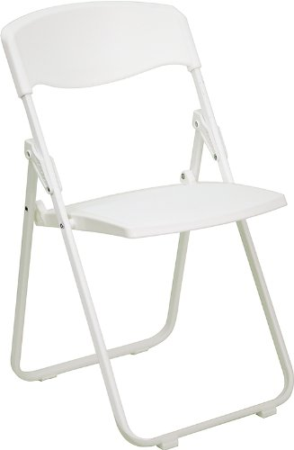 Flash Furniture HERCULES Series 880 lb. Capacity Heavy Duty White Plastic Folding Chair with Built-in Ganging Brackets by Flash Furniture