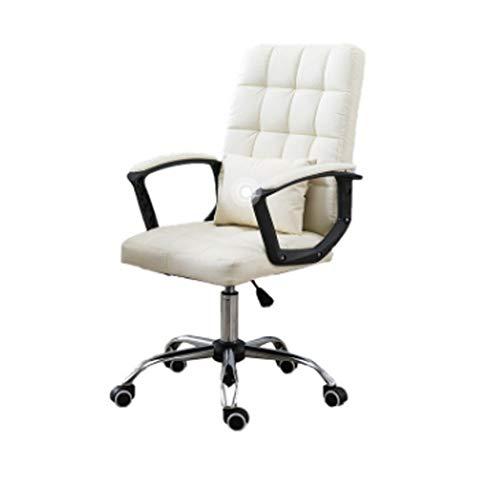 Silla de oficina Silla de oficina ergonomica con telesilla silla de oficina silla de ordenador juego Silla giratoria Conferencia silla de dormitorio moderno y minimalista elevacion de la proa,Blanco