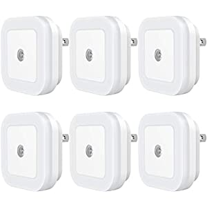 Sycees Plug-in LED Night Light with Dusk-to-Dawn Sensor for Bedroom, Bathroom, Kitchen, Hallway, Stairs, Daylight White, 6-Pack