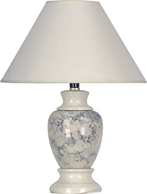 "S.H. International Ceramic Table Lamp 15""H - Ivory"