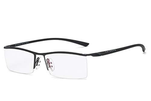 - LUOMON Non-Prescription Glasses Men 54mm Semi Rimless Plain Eyeglasses with Black TR90 Unbreakable Frame EG001