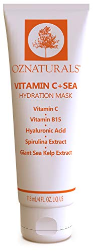 OZNaturals Daily Hydrating Face Mask: Vitamin C + Sea Hydration Mask with Hyaluronic Acid, Vitamin B5 and Sea Extracts - Moisturizing Facial Mask for Smoothing and Brightening Dull, Dry Skin - 4 Fl Oz