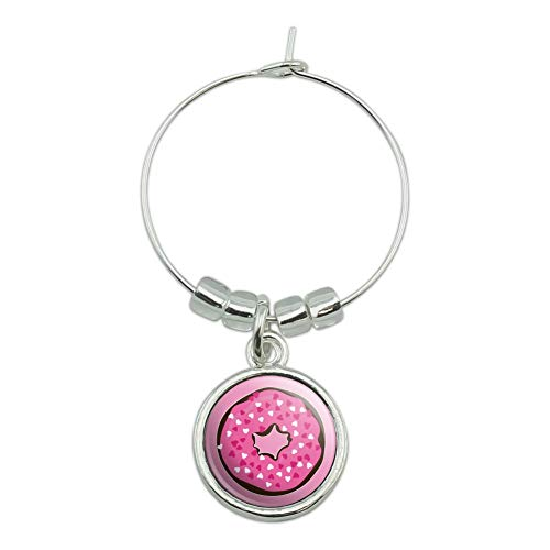 Cute Chocolate Valentine Donut Pink Hearts Wine Glass Charm Drink Marker