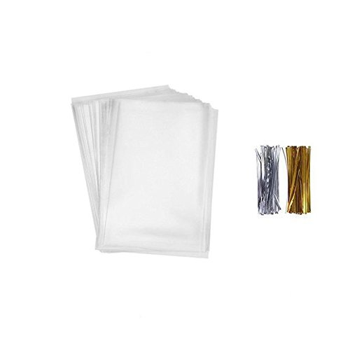 200 Pcs 4 in x 3 in Clear Flat Cello Cellophane Treat Bags(1.4mil) Good for Bakery, Cookies, Candies ,Dessert.