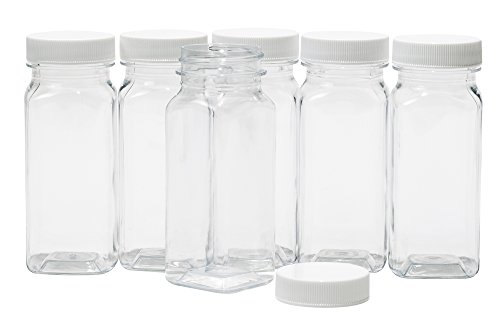 CLEAR PLASTIC SQUARE BAIRE BOTTLES - 4 oz Refillable Containers, 6-PACK - White Lids - ORGANIZE YOUR KITCHEN, CRAFT ROOM, GARAGE or CREATE WEDDING AND PARTY FAVORS - BONUS One 2 oz Matching Bottle