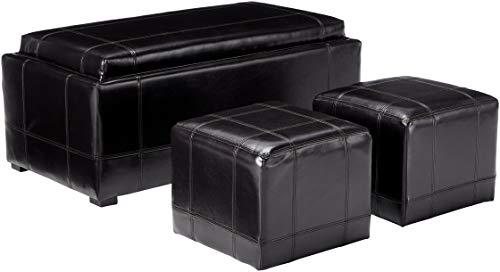 Christopher Knight Home 3-Piece Espresso Leather Storage Ottoman Poufs Set
