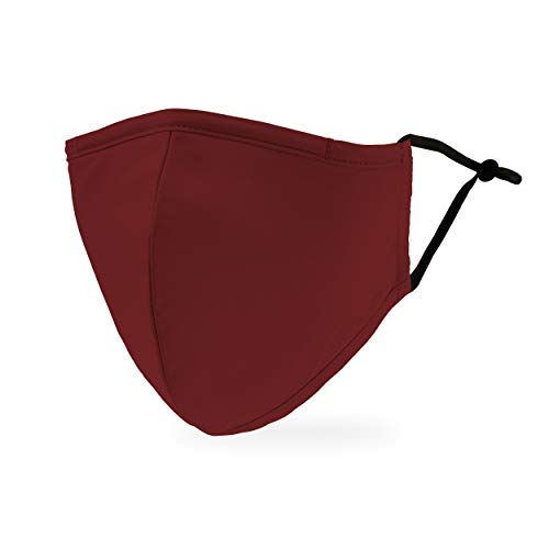 Weddingstar 3-Ply Adult Washable Cloth Face Mask Reusable and Adjustable with Filter Pocket – Dark Red