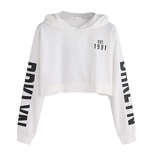Crop Hoodies Sweatshirt,Women's Letters Long Sleeve Letter Pinted Pullover Tops Blouse by-NEWONESUN White
