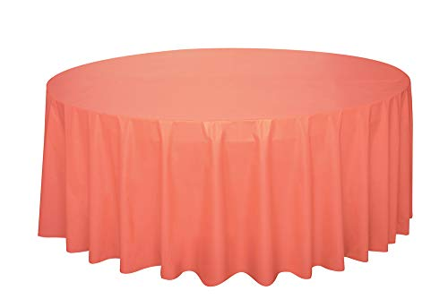 Round Coral Plastic Tablecloth, 84