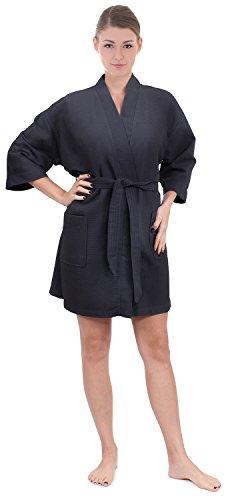 Women's Knee Length Waffle Weave Kimono Bathrobe (Small/Medium, Gray) (Cotton Linen Robe)