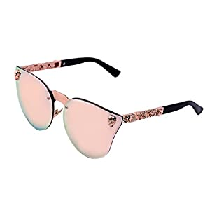 Women's Metal Half Frame Semi-Rimless Cateye Skull Studded Sunglasses - UV400