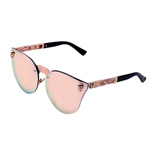 Women's Metal Half Frame Semi-Rimless Cateye Skull Studded Sunglasses - UV400 - Skull Sunglasses