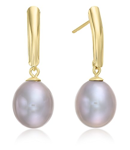 14k Yellow Gold Freshwater Cultured Drop Pearl Earring (Grey)