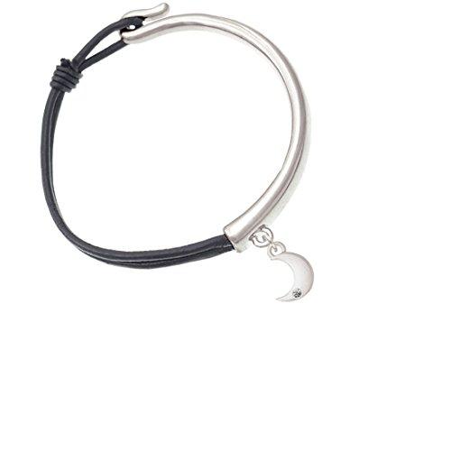 Small Crescent Moon Black Leather Carley Cuff Bracelet (Illumination Front Closure)
