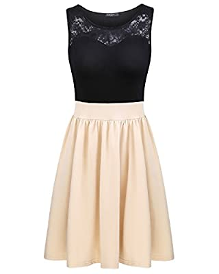 OUGES Women's Summer Sleeveless Lace Top Mini Pleated Party Dress