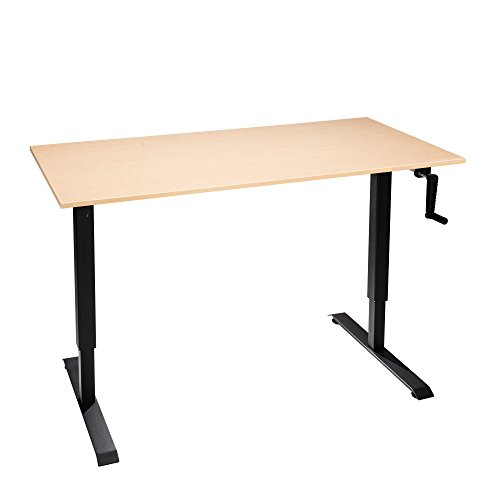"The Original ModTable Hand Crank Standing Desk Adjustable Height Table with Black Frame + Small Desktop 24"" x 40"" x 3/4"", Fusion Maple"