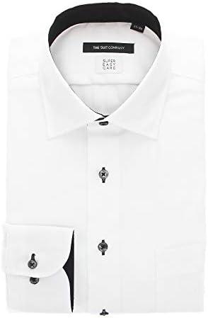 (ザ・スーツカンパニー) SUPER EASY CARE・再生繊維/ワイドカラードレスシャツ 織柄 〔EC・BASIC〕 ホワイト