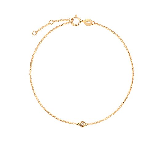 Carleen 18K Solid Gold One Diamond Bracelet Minimalist Dainty Delicate Fine Jewelry for Women Girls (Yellow Gold)
