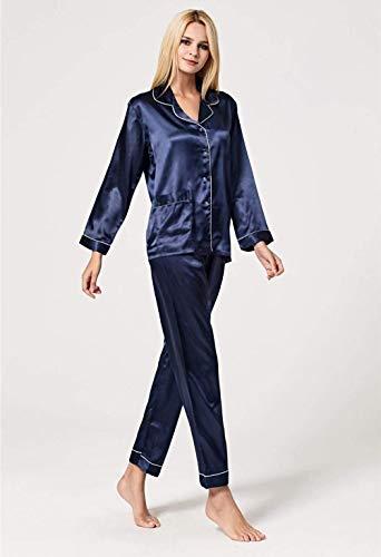 Elastische Larga Trousers Sólido Ropa Mujer Un Bolsillos Solo De Dormir Taille Solapa Color Delanteros Camison Navy Mode Marca Pecho Manga Camisas dYqwOPFq
