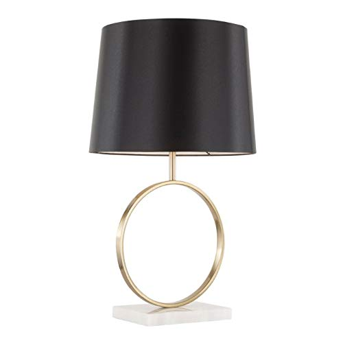 Lumisource Moon Contemporary Table Lamp, White/Gold/Black