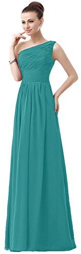 VaniaDress Women One Shoulder Chiffon Long Bridesmaid Dress Prom Gonws V006LF Turquoise US22W from Vania Dress