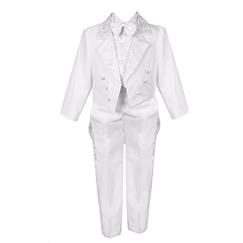 Bodice Vest (Big Boys White 5 Piece Classic Vest Pants Tail Jacket Jacquard Tuxedo Suit 12)