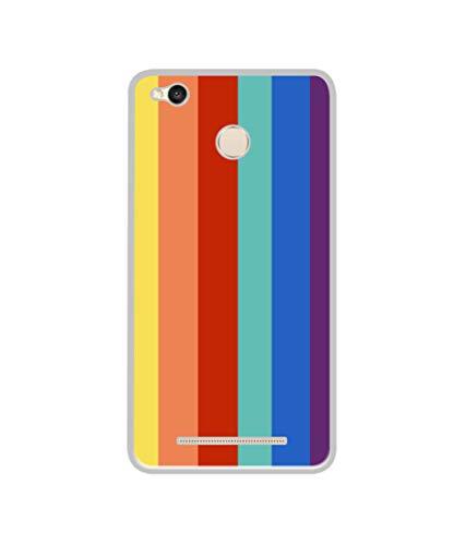 Casotec Rainbow Colors Design Printed Silicon Soft TPU Back Case Cover for Mi Redmi 3S Prime