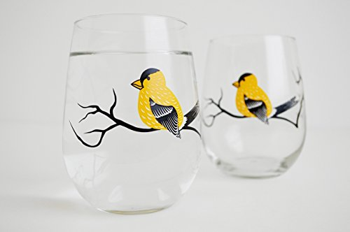 Golden Finch Stemless Wine Glasses Set of 2 Yellow Bird Stemless Glasses, Yellow Finch Glassware