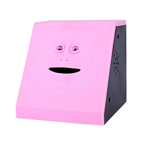 Wefond Novelty Coin Money Eating Musical Face Bank Automatic Money Saving Collection Piggy Bank for Kids Children (Pink Flat)