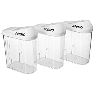 Amazon Brand – Solimo Plastic Storage Container Set with Sliding Mouth (Set of 3, 750ml) and Plastic Storage Container Set with Sliding Mouth (Set of 3, 1100ml) Combo