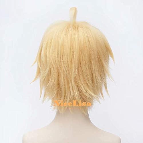 cosplay da personaggio maschile dei manga party Nicelisa parrucca corta bionda pre-acconciata per travestimenti