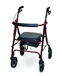 ITA-MED 4-Wheel Aluminum Rollator Walker with Loop Brakes, 8-inch wheels, Burgundy