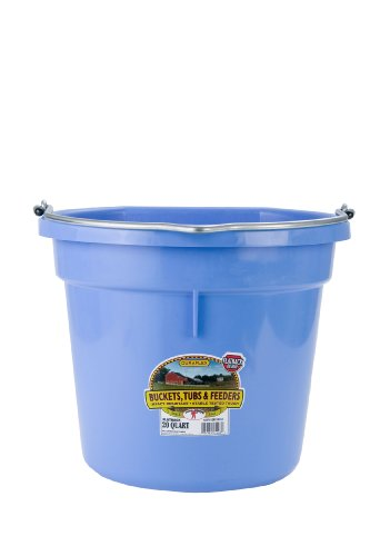 Miller Manufacturing P20FBBERRYBLUE Plastic Flat Back Bucket for Horses, 20-Quart