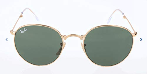 Ray-Ban RB3532 Round Metal Folding Sunglasses, Gold/Green, 50 ()