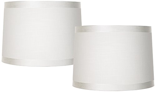 Off White Fabric Set of 2 Drum Shades 13x14x10 (Spider)