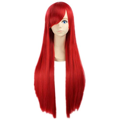 COSPLAZA Cosplay Wig Red Straight Long Hair Wig for Women Girls Movie TV Show Live Action Film Character Play Costume Wig -
