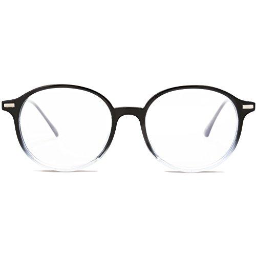VANLINKER Clear Lens Eyeglasses Anti Blue Light Computer Reading Glasses VL9005 C4 Black-Gray Frame/Anti-Blue Light Lens