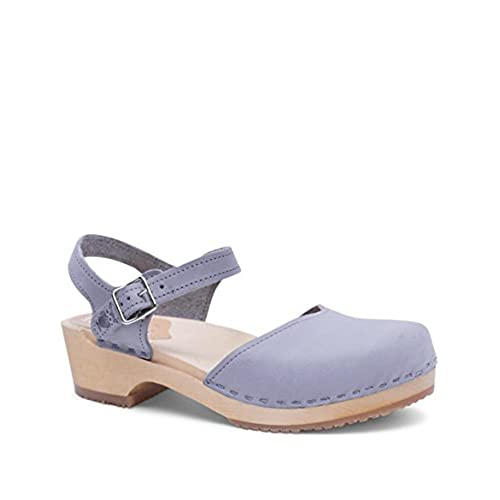 Outlet Swedish Wooden Low Heel Clog Sandals For Women Saragasso In