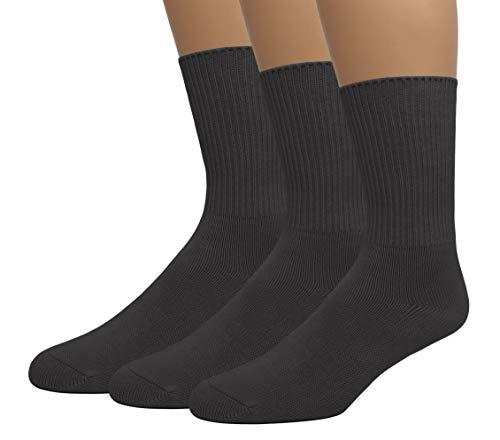 EMEM Apparel Women's Ladies Diabetic Circulatory Non-Binding Top Loose Top Casual Crew Mid Calf Cotton Seamless Toe Socks 3-Pack Black 9-11