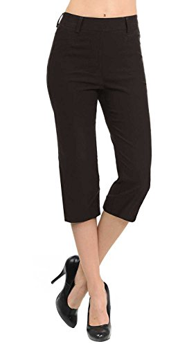 - VIV Collection New Women's Straight Fit Trouser Capri Pants (Medium, Dark Brown)